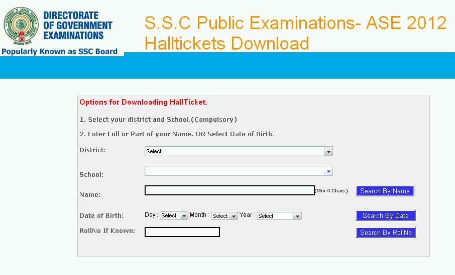 AP Board of Secondary Education SSC Hall Tickets - 2018 2019