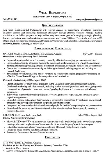 Skills MBA finance resume - 2017 2018 Student Forum