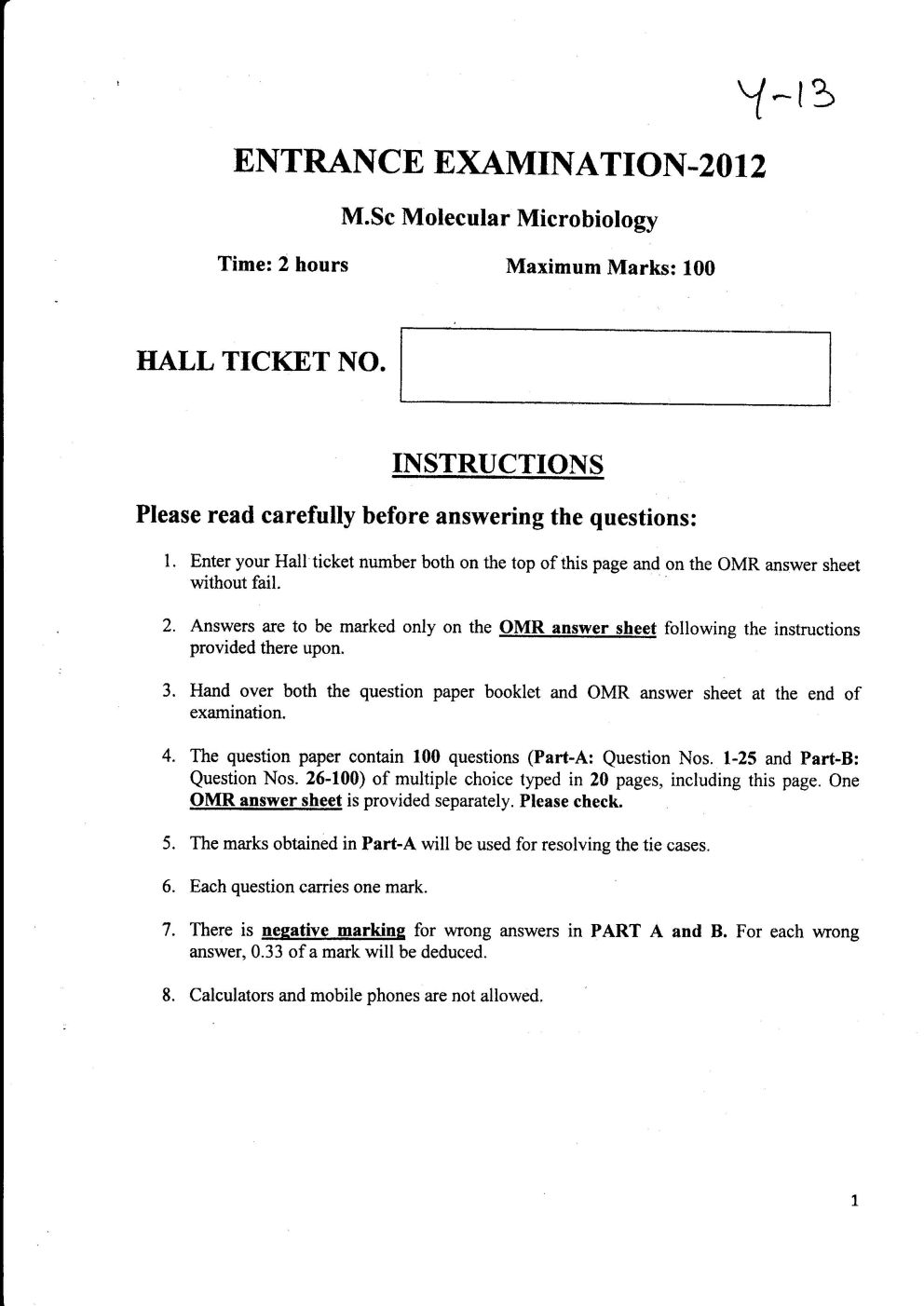 M Sc  Microbiology Entrance Exam question paper - 2018 2019