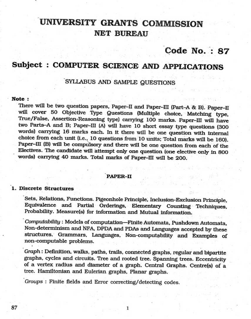 net exam computer science syllabus 2017 2018 student forum