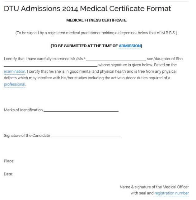 Health Certificate Format For Admission    Student Forum