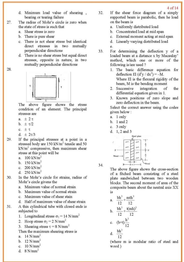 Junior Engineer Civil previous year question papers of Staff