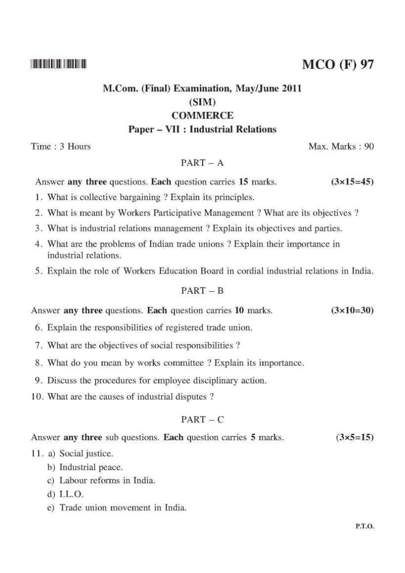 Karnataka State Open University M Com Question papers - 2019