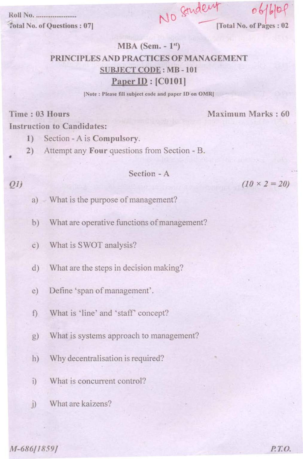 PTU MBA Course Question Papers - 2018 2019 Student Forum