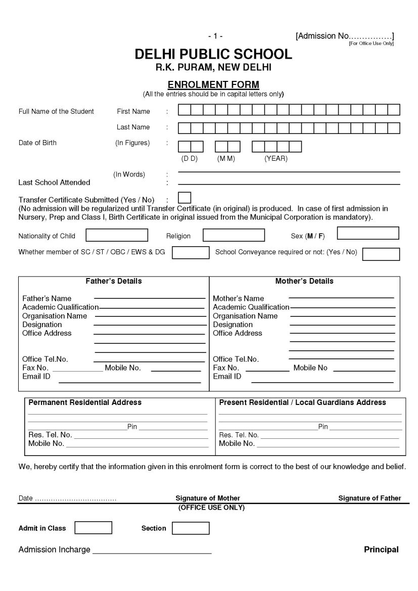 2018 2019 Management  Admission Forms For Schools