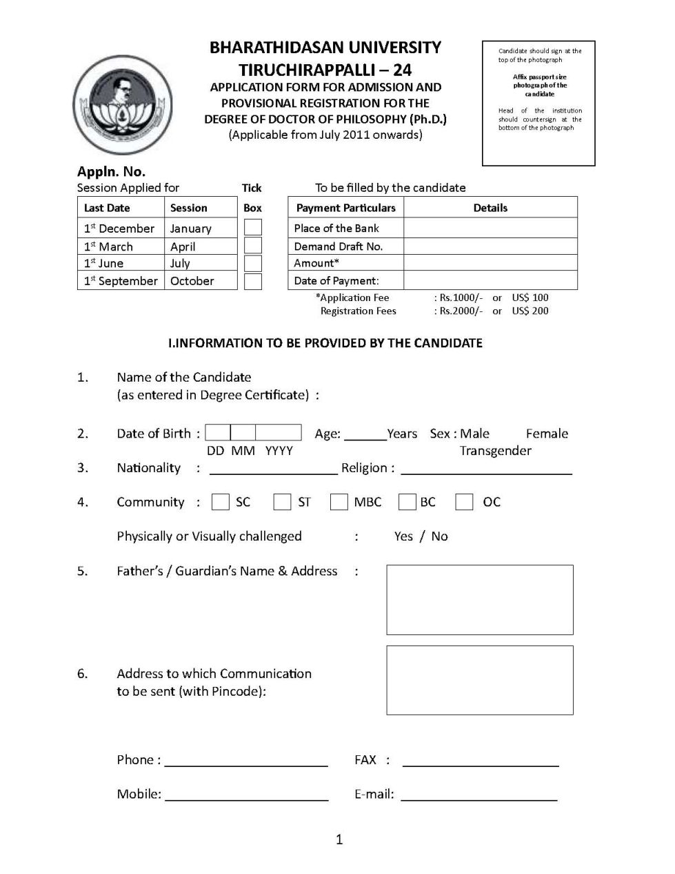phd thesis submission form bharathidasan university