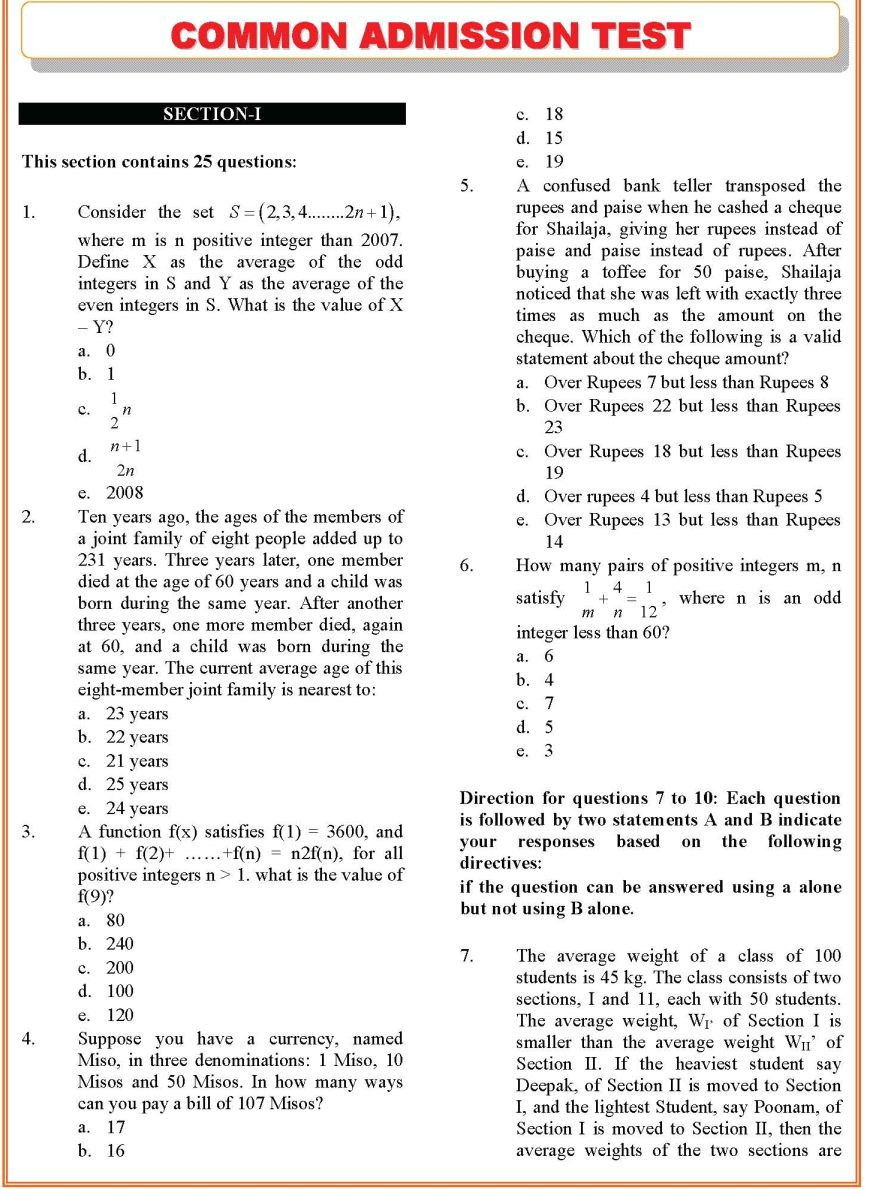 XAT Sample Question Paper - 2014-2015 StudyChaCha