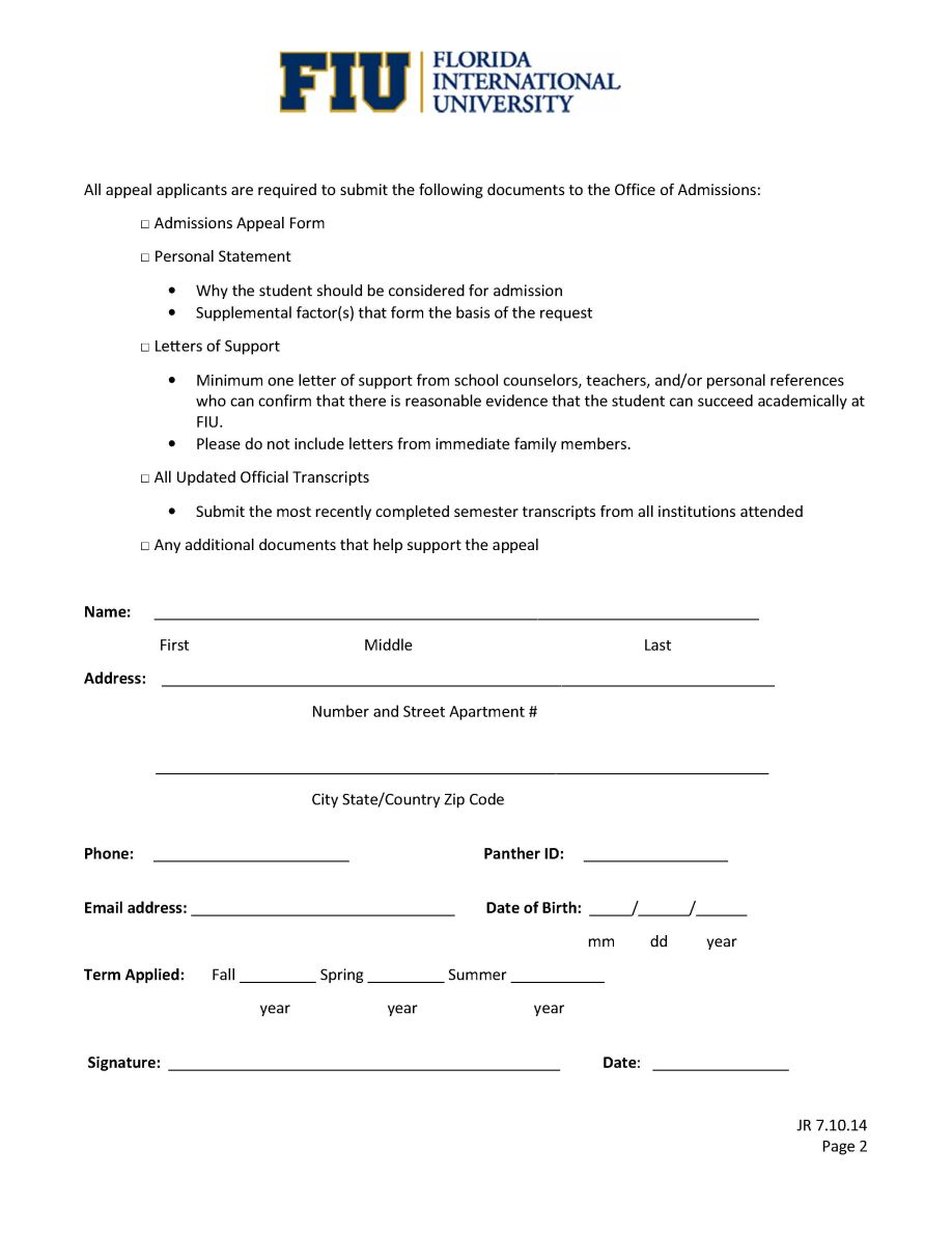 Fiu application essay