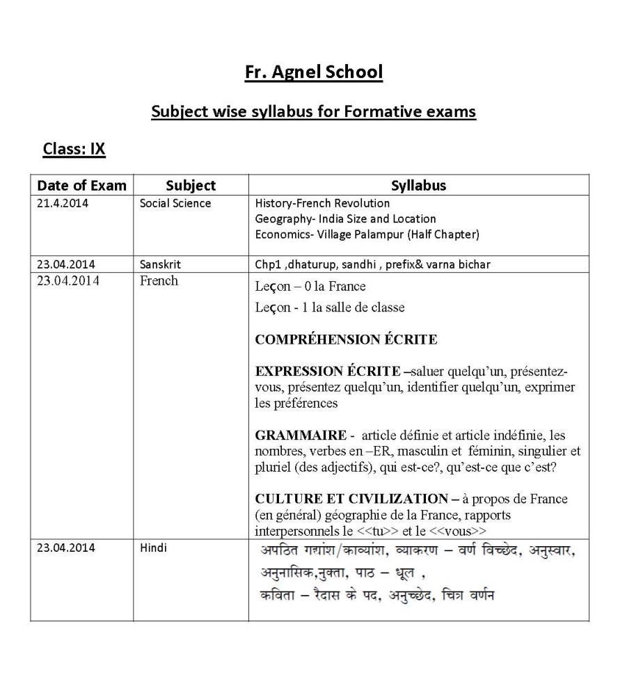 father agnel school noida holiday homework 2014