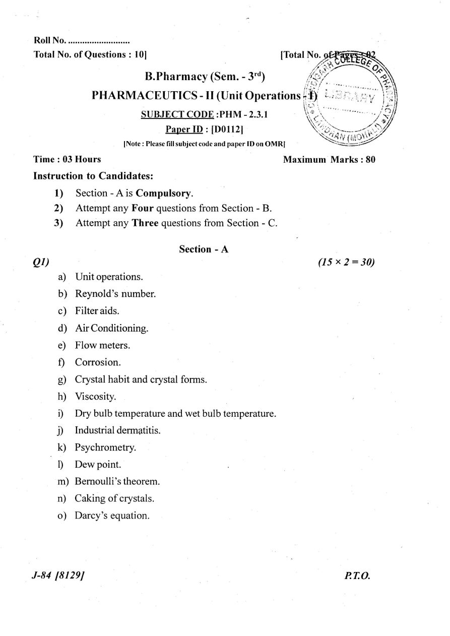 Chemistry Question Paper Bsc Second Semester : Pursued : A True