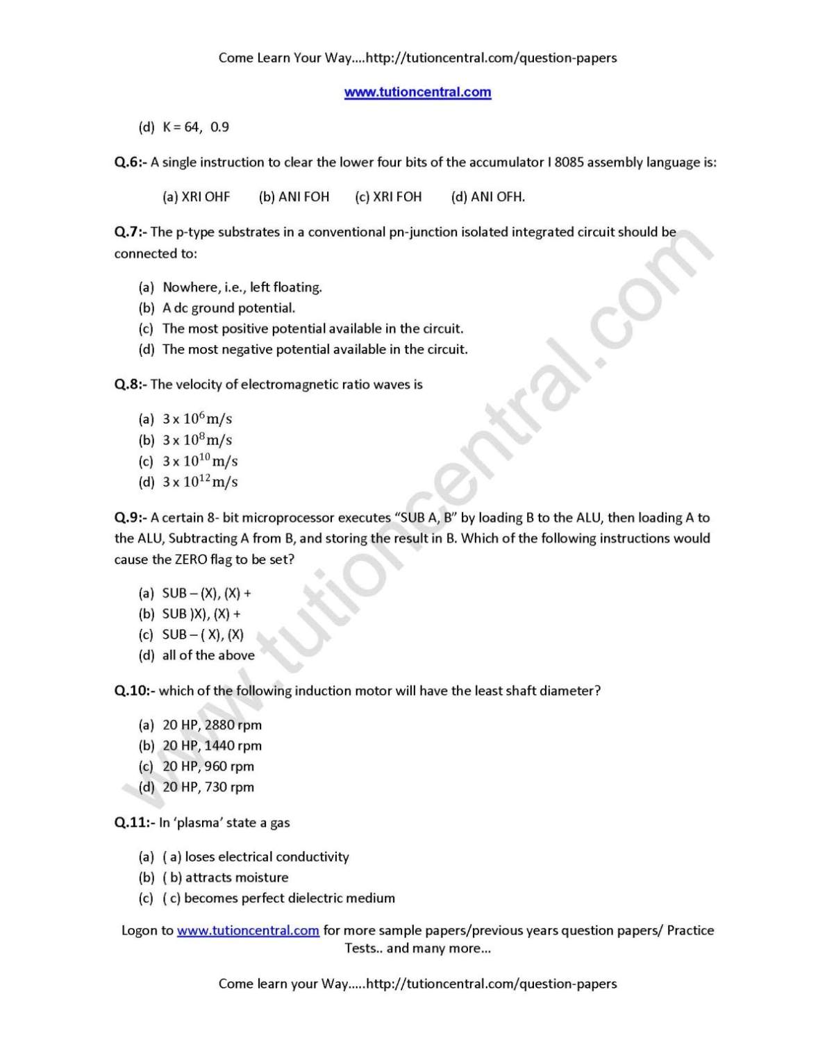Drdo sta b electrical engineering exam question paper 2018 2019.