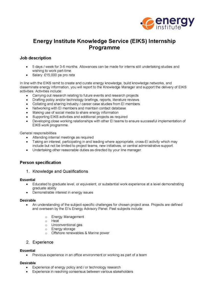 Energy Institute Resume / Sales / Energy And Power - Lewesmr