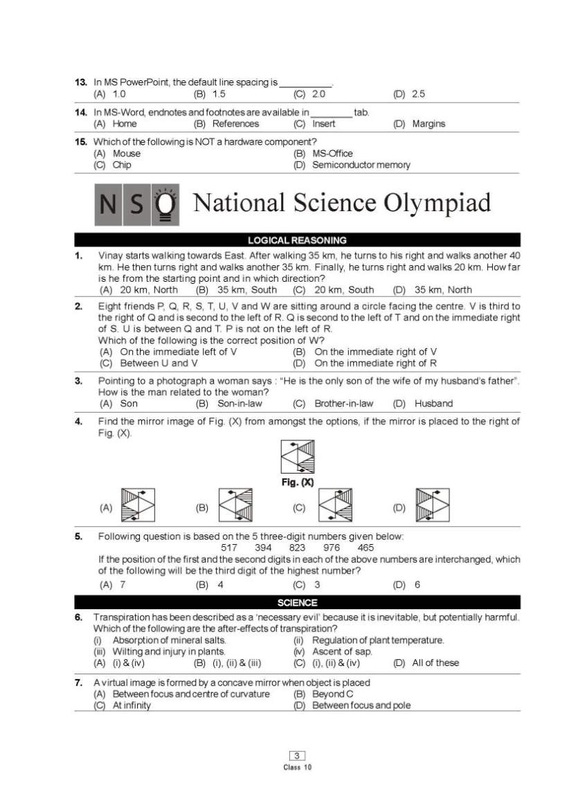national science olympiad previous question papers 21st nso 2018 – 2019 sample papers sample papers for national science olympiad (nso) by science olympiad foundation (sof) nso 2018 – 2019 sample papers for first level is given below.