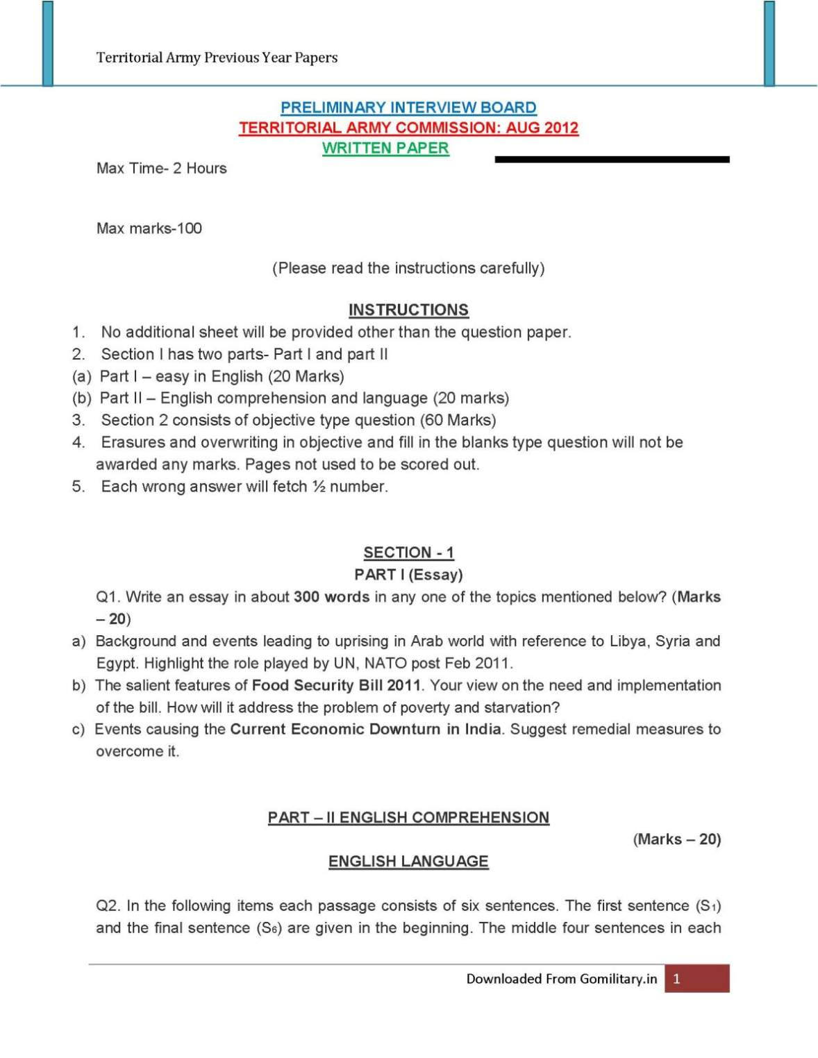 question paper territorial army student forum question paper territorial army