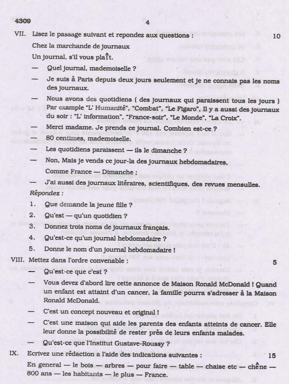cbse french sample papers class 10 sa1