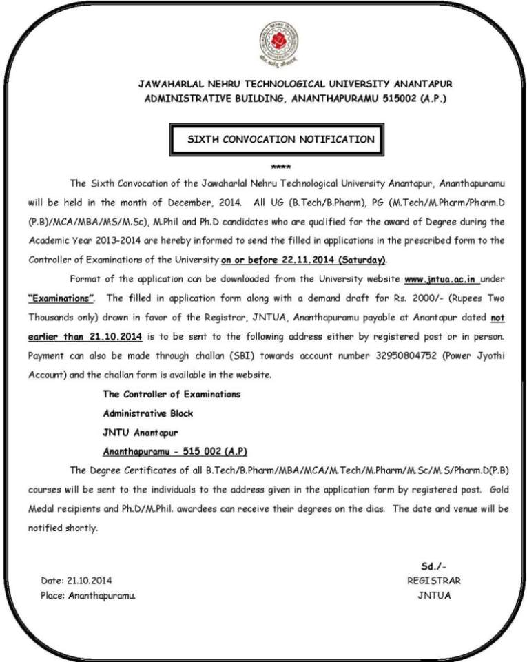 Jntu Anantapur Convocation Application Form 2012 Pdf