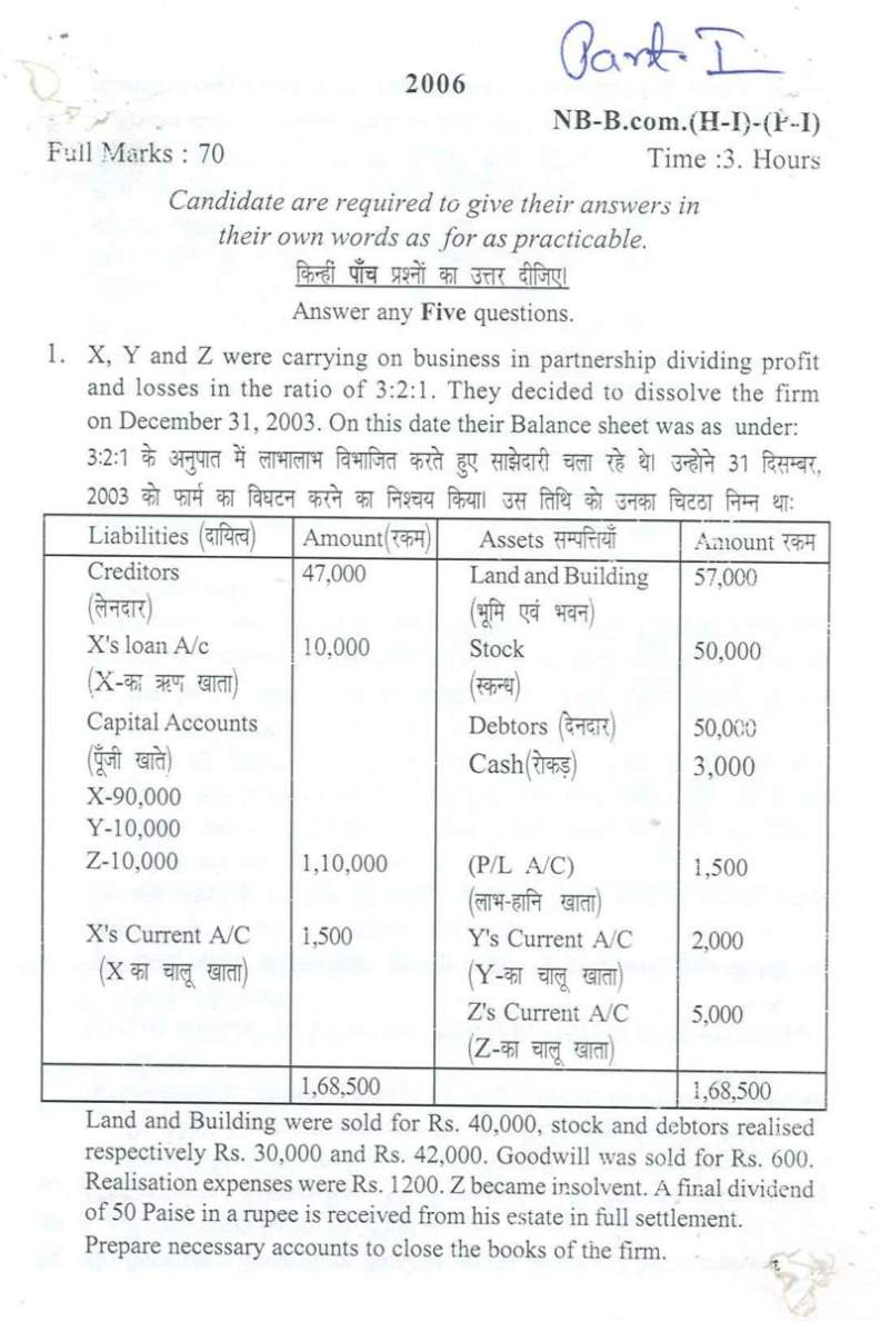 B Com First Year Question Paper - 2019 2020 Student Forum