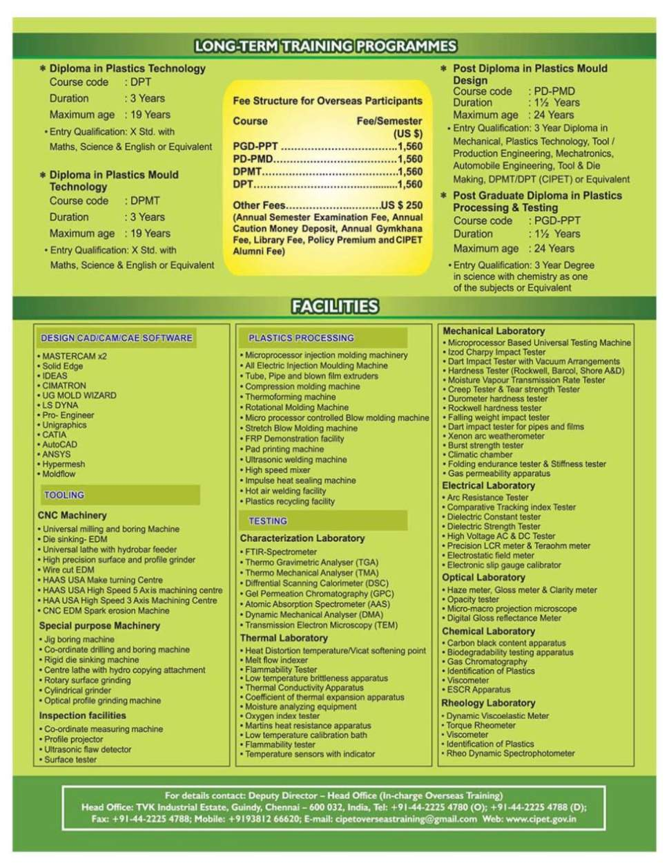 Central Institutes Of Plastics Engineering And Technology - 2018