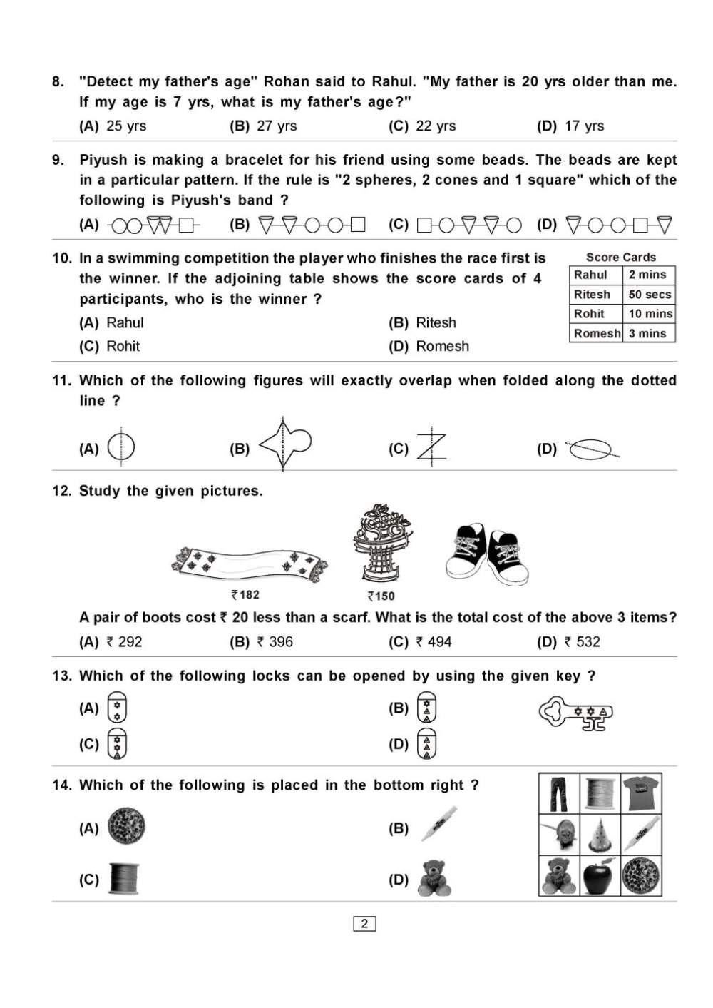 IMO Class 2 Maths Olympiad Question Paper - 2018 2019