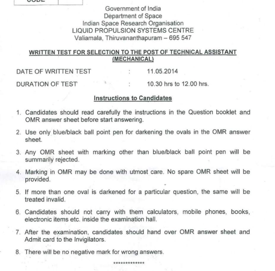 lpsc isro technical assistant of mechanical branch question paper