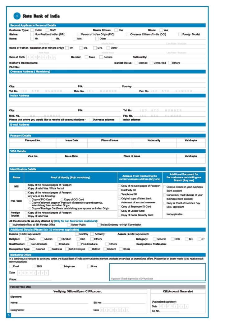 SBI account opening form - 2017 2018 Student Forum