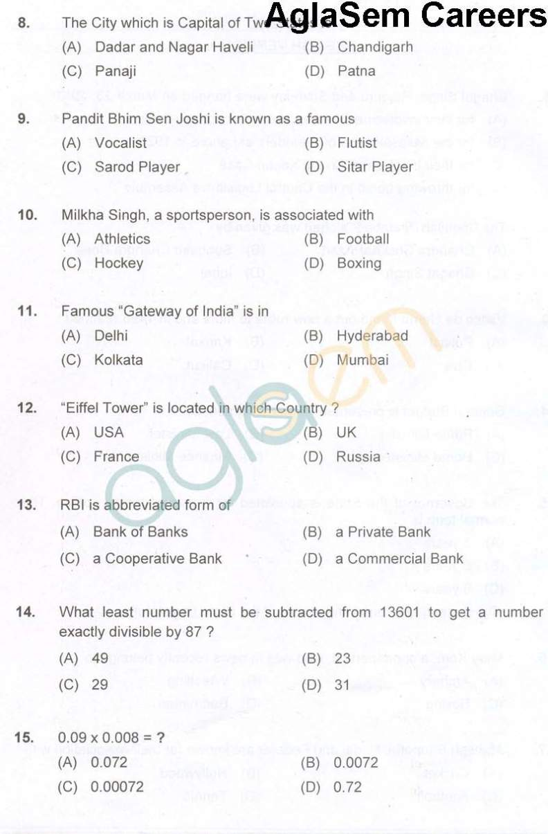 Southern Railway Group D Exam Exam Question Paper - 2018