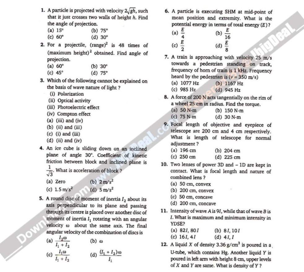 AMU MBBS Previous Year Question Paper Free Download - 2018