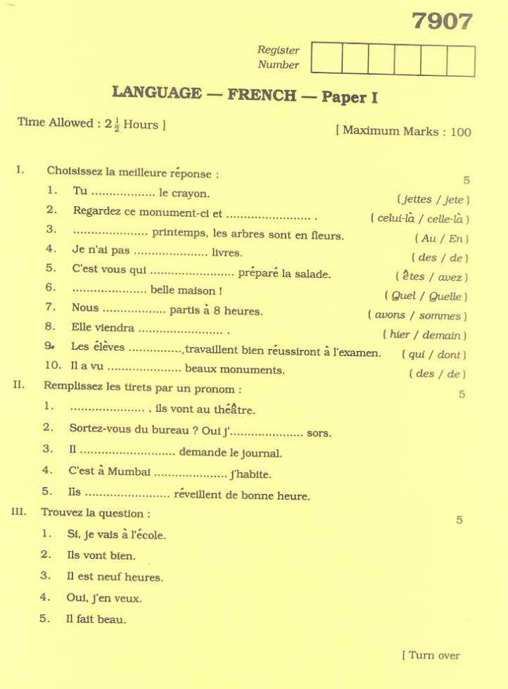french language term papers