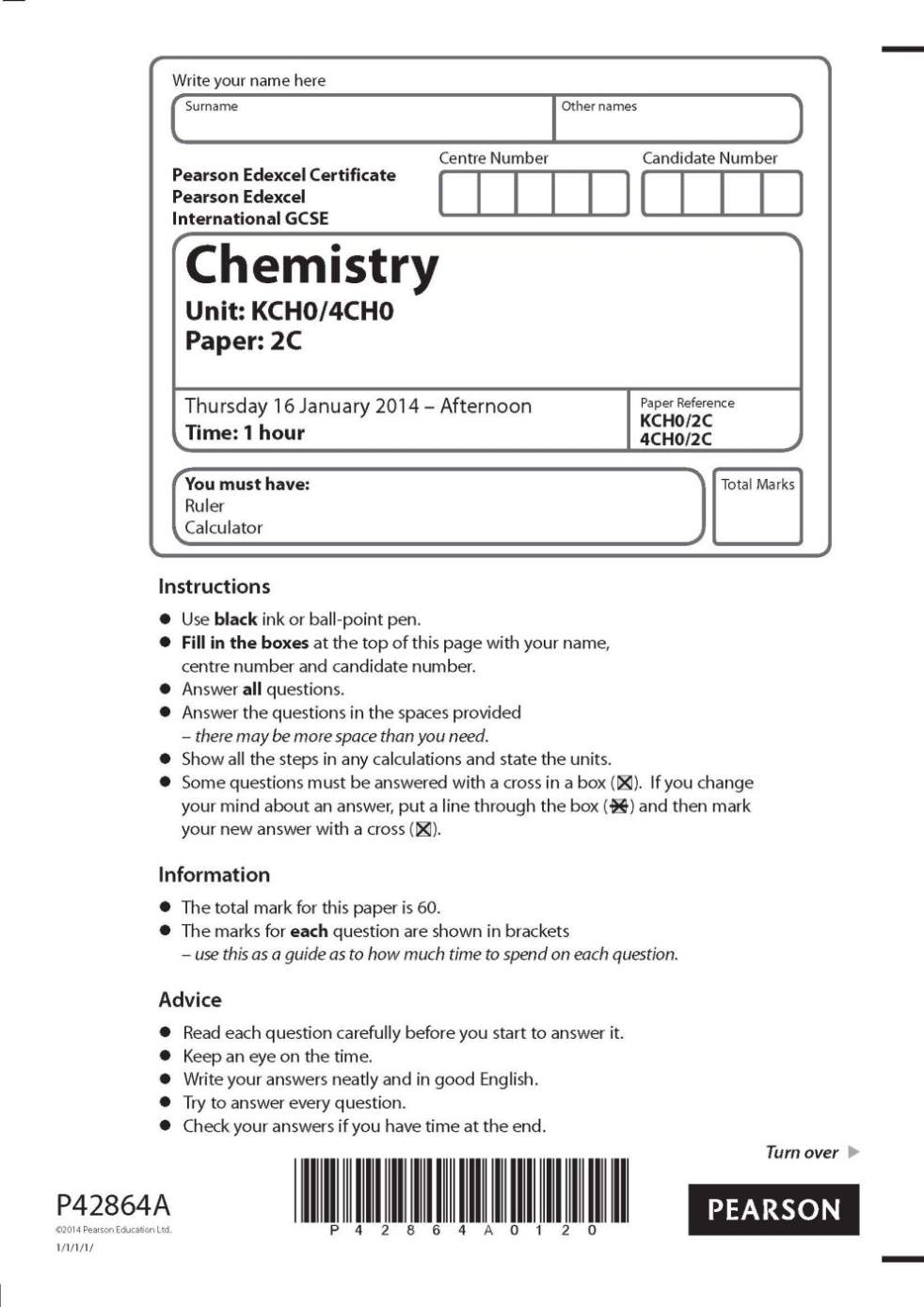 EDEXCEL IGCSE Chemistry question papers - 2018 2019 Student