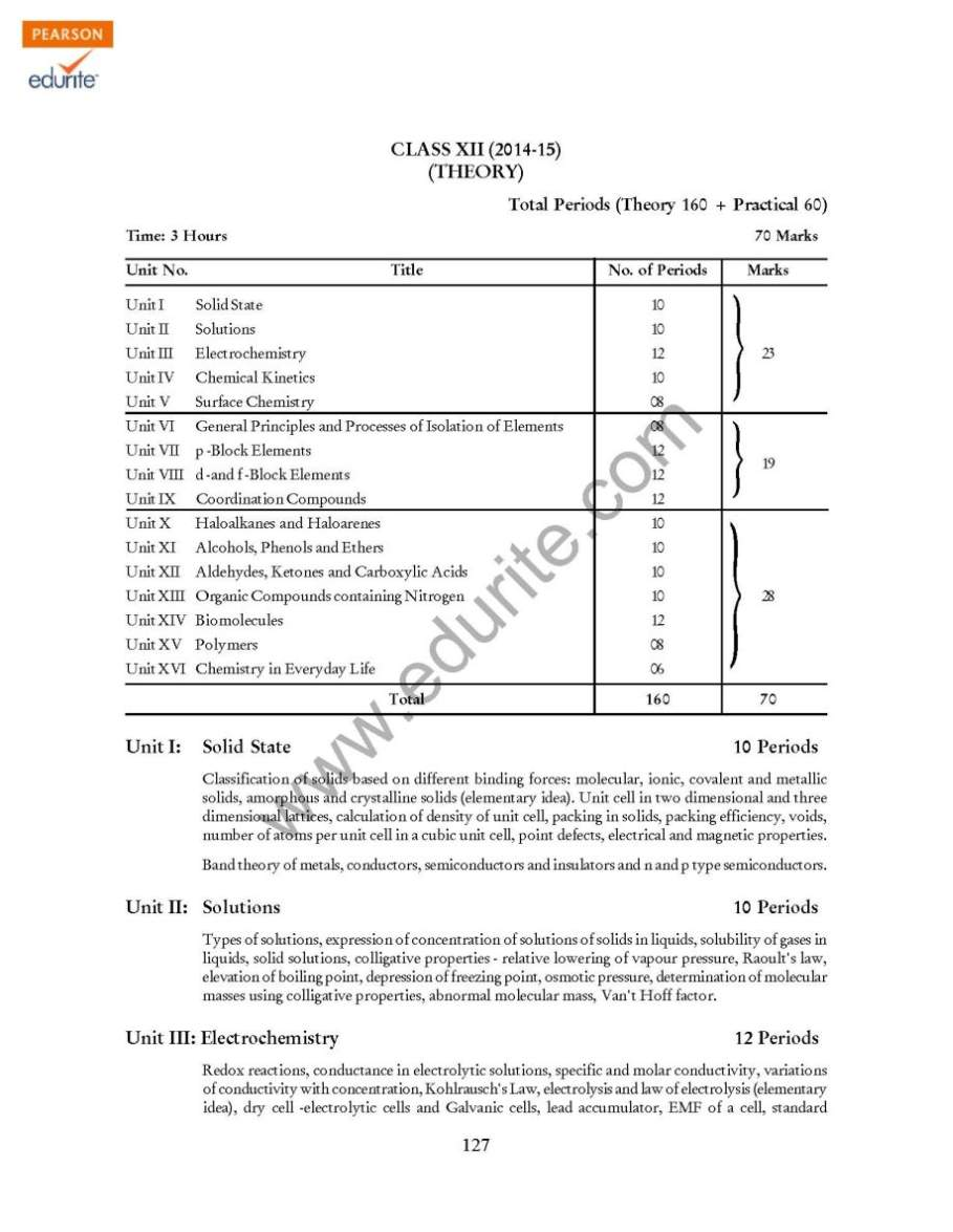 Excluded portions of chemistry for cbse class 12 exam 2017 2018 student forum