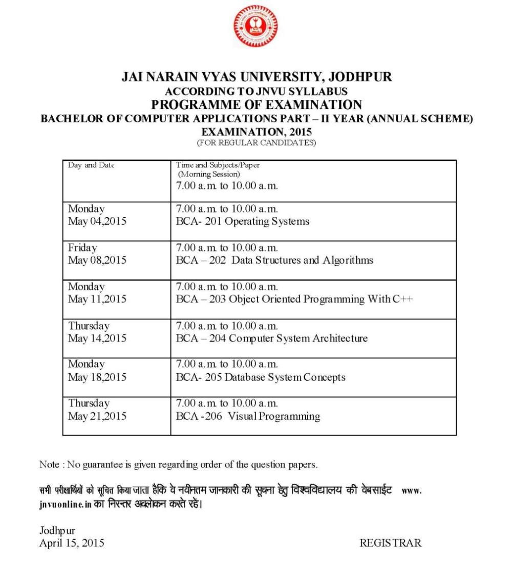 Jnvu bca time table 2018 2019 student forum for Rtu time table 4 th sem 2015