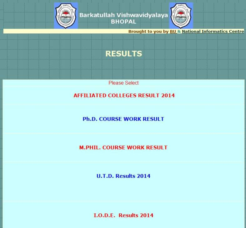phd coursework result bu bhopal 2014