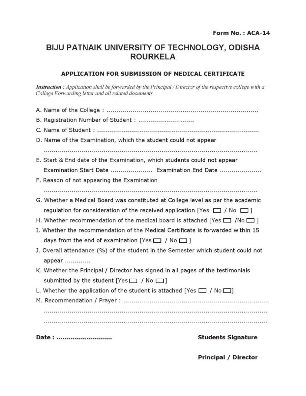 BPUT Medical Certificate - 2018 2019 Student Forum