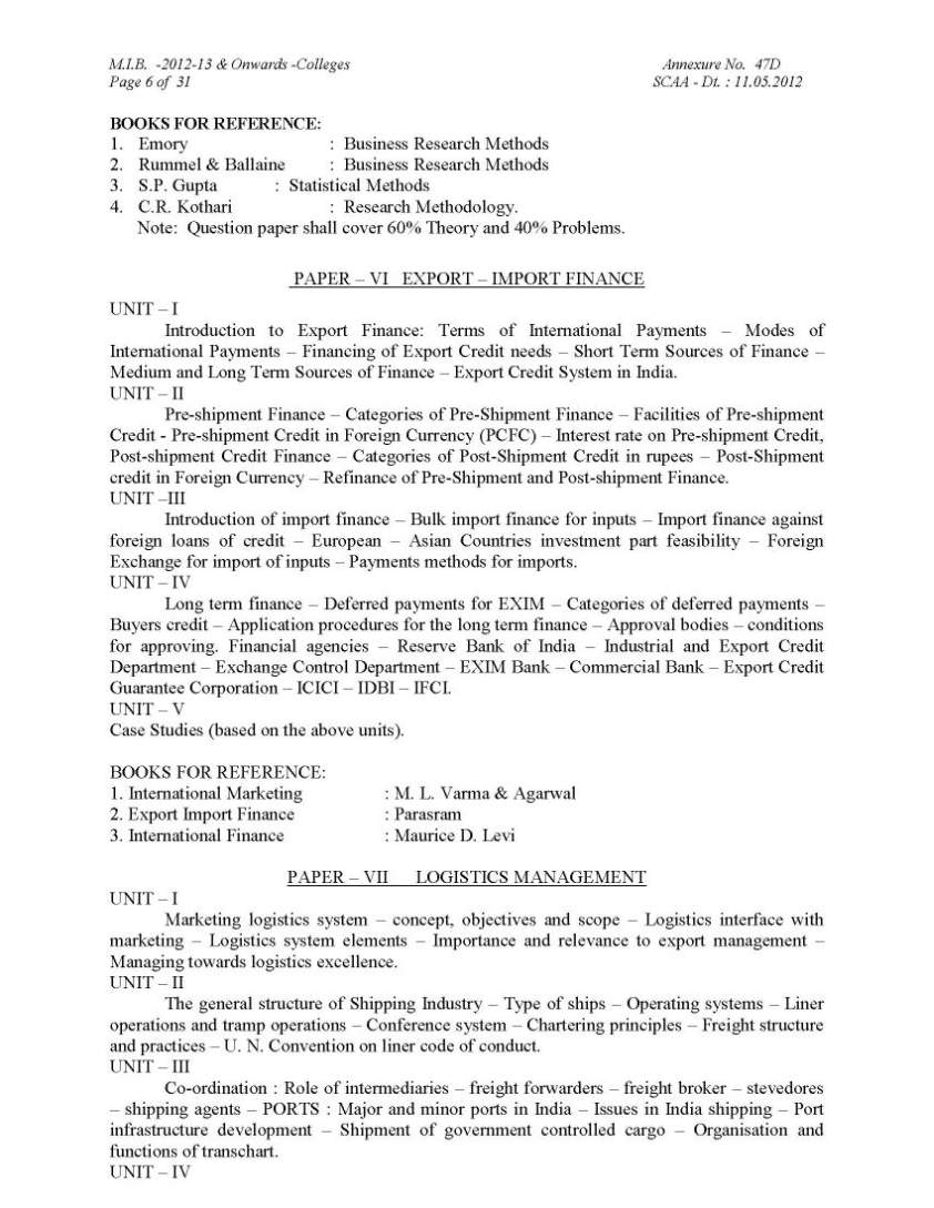 bharathiar university mib student forum bharathiar university master of international business syllabus for detailed syllabus here is the attachment