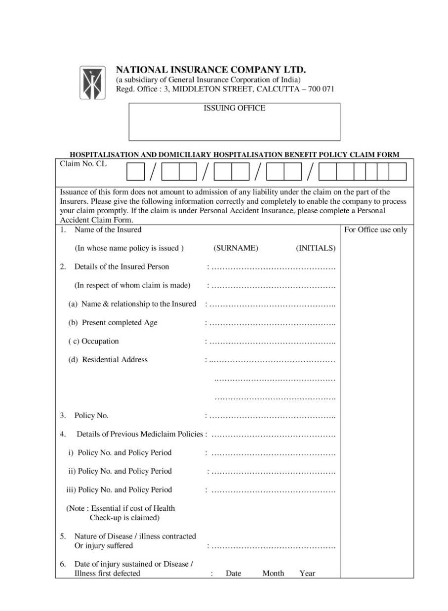 National Insurance Company Claim Form for Mediclaim - 2017 2018 ...