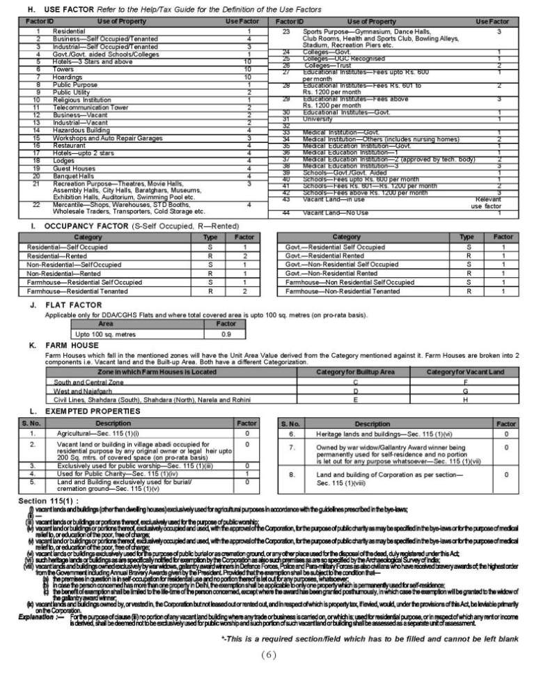 MCD Self Assessment Property Tax Application Form