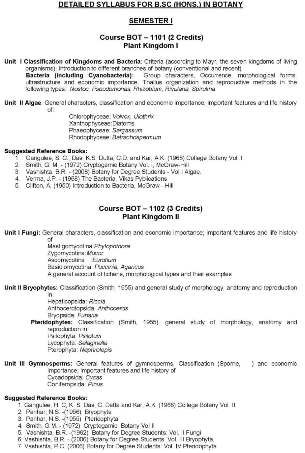 BSC Zoology syllabus MS University - 2018 2019 Student Forum