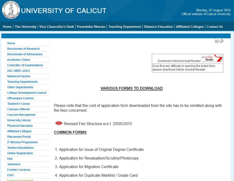 Calicut university certificate sample 2018 2019 student forum now on this page you have to choose the tab of application for issue of original degree certificate and a pdf file will come which here i am uploading it yadclub Gallery
