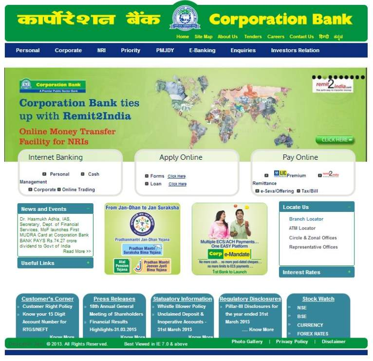 how to use internet banking in corporation bank