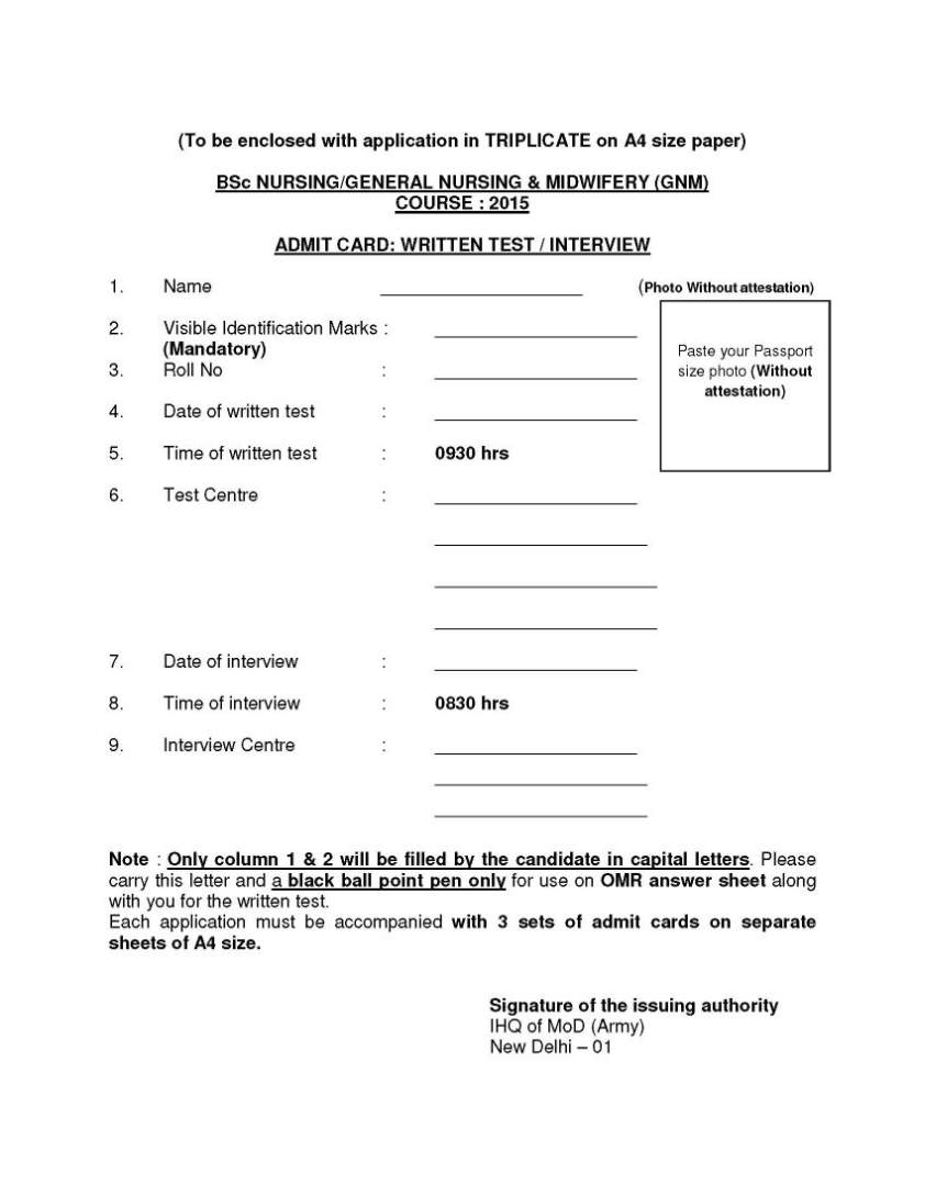 Indian Army Military Nursing Application Form - 2017 2018 Student ...