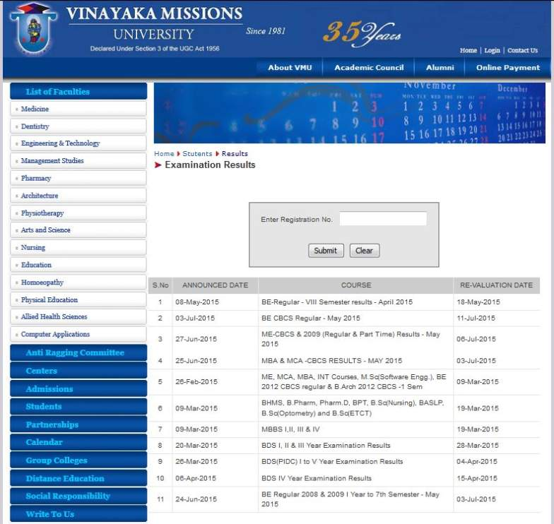 Marksheet of vinayaka mission university 2018 2019 student forum here enter registration number and click on submit to get result yadclub Choice Image