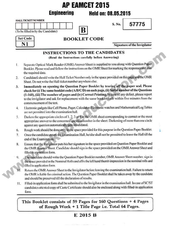 Eamcet Model Papers Pdf