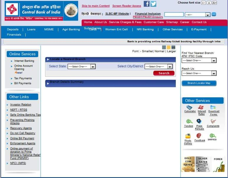 central bank of india online