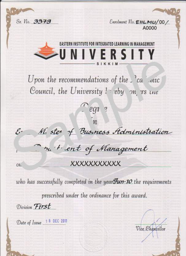 Eiilm University Degree Certificate Sample    Student Forum