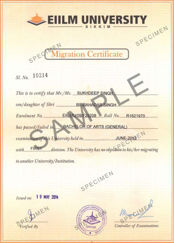 sample degree certificates of universities