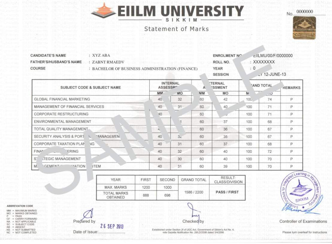 Eiilm university degree certificate sample 2018 2019 student forum eiilm university degree certificate application yadclub Image collections