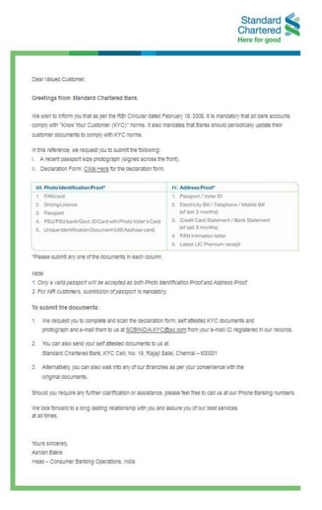 Kyc Documents Standard Chartered 2018 2019 Student Forum