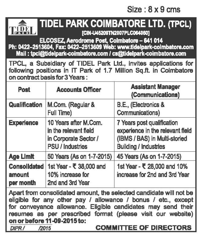 Tidel Park Coimbatore Jobs Vacancies - 2018 2019 Student Forum