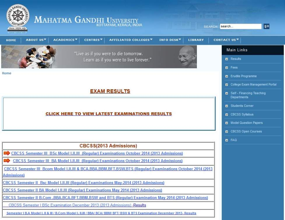 Madison : Mg university cbcss bcom results 2014