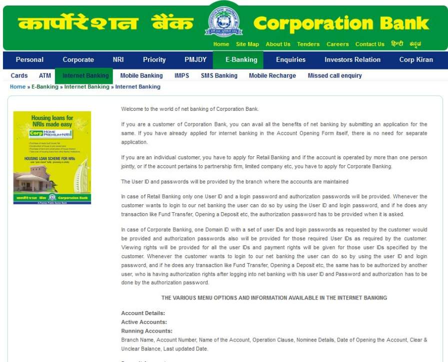 how to create internet banking in corporation bank